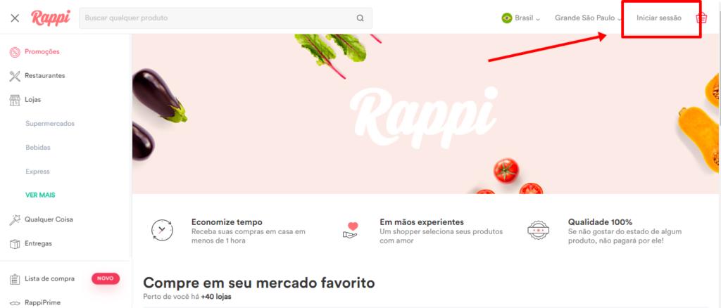 Aplicativo de Entrega Rappi cadastro