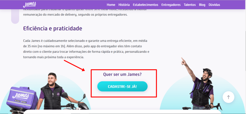 como ser Entregador James Delivery